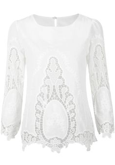 Floral White Cut Out Top - Creamy White Cutout Top