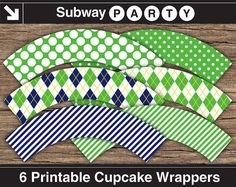 INSTANT DOWNLOAD Printable Golf Theme Cupcake Wrappers in Green, Navy Blue & Lime Argyle, Polka Dot and Stripes Paterns. DIY 8x11 jpg.
