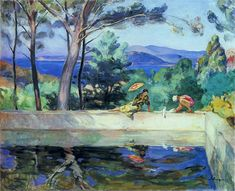 Blue Reflection in the Fountain at Pradet | Henri Lebasque | oil painting