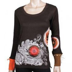 Desigual Malena Shirt chocolate tailliertes Langarm-Shirt mit extravagantem Design.