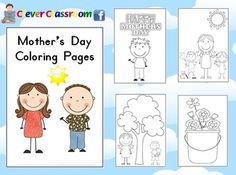 Free from Clever Classroom. FREE Mother's Day Coloring Pages - PDF file10 page PDF file designed by Clever Classroom.10 cute, bold images for children to color this Mo...