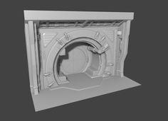 Test Artwork - Sci-fi Door, Étienne Jenin on ArtStation at https://www.artstation.com/artwork/Ba4vr