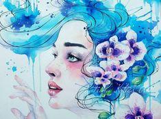 """Chasing dreams"" by Katrina koltes Watercolor Face, Watercolor Portraits, Watercolor Paintings, Ink Paintings, Disney Kunst, Disney Art, Chasing Dreams, Mixed Media Artists, Contemporary Artists"