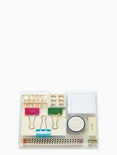 This adorable little box has all the office necessities that you could need. I want it for my desk!!