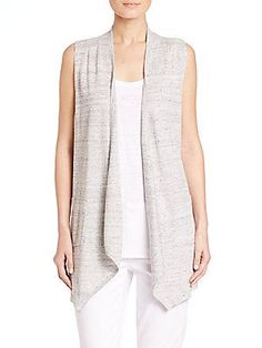 Eileen Fisher Speckled Linen Vest - Dark Pearl - Size