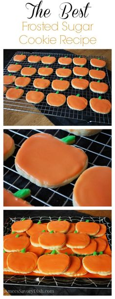 The Best Frosted Sugar Cookies {A Kid Favorite} - Amee's Savory Dish Halloween Desserts, Halloween Sugar Cookies, Halloween Cookie Recipes, Halloween Treats, Happy Halloween, Sugar Cookie Frosting, Sugar Cookies Recipe, Frosted Sugar Cookies, Biscuits