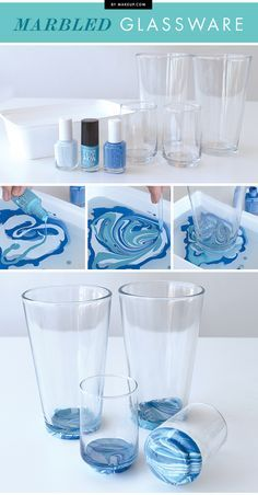 3 clever crafts you can do with nail polish - Marbled glassware.