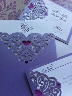 Boda invitación Lasercut dulce corazón bolsillo por CelineDesigns