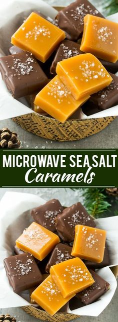 This recipe for microwave caramels is an impressive treat thats ready in just minutes - top the caramels with a generous sprinkle of sea salt to really make them special! Microwave Caramels, Microwave Recipes, Microwave Candy Recipe, No Salt Recipes, Sweet Recipes, Holiday Baking, Christmas Baking, Homemade Christmas Candy, Halloween Christmas