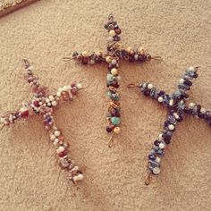 Beaded wired crosses. I made them with wire hangers and jewlery wire. Just bead the jewlery wire and wrap it
