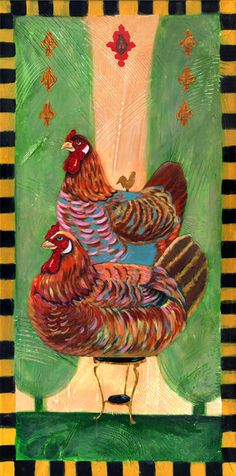 Meet the Fleur de Deux hens! These regal hens pose on a iron table in the heart of the French countryside! Royal Chicken, Chicken Brands, Chicken Art, Iron Table, Unique Image, Pigment Ink, Paper Decorations, Hens, Art Reproductions