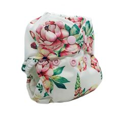 Vintage  Bloom - Bittees Stay-dry Newborn AIO Diaper – Nuggles Designs Canada- Floral cloth diaper for babies made by Nuggles #clothdiapers #blushcollection