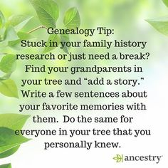 """Genealogy Tip: Stuck in your research or just need a break? Select """"Add a story"""" to save your memories in your online tree.  #familyhistory #genealogy #genealogytip #ancestry #family #familytree #ancestors #storytelling"""
