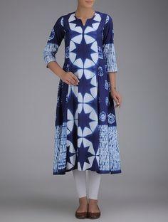 Buy Indigo Ivory Shibori Dyed Kalidar Cotton Kurta Online at Jaypore.com
