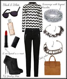 How to accessorize a black & white outfit. Find more fashion tips on our website's blog. Jewelry from www.rzjewelryshop.com