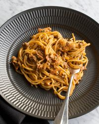 Pasta Bolognese Recipe on Food & Wine - literally the best bolognese sauce I've ever had and the extra bonus is that you don't have to simmer it for hours.