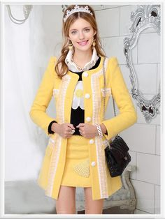 Morpheus Boutique  - Yellow Lace Button Down Wool Long Sleeve Lovely Coat