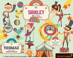 clipart elements for Personal and Commercial use. (paper crafts, card making, scrapbooking) Elements Of Art, Design Elements, Clipart, Carnival Classroom, Circus Poster, Carnival Posters, Circus Theme Party, Vintage Circus, Diy Invitations