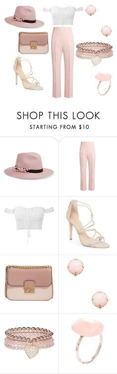 """""""Rose gold"""" by elisa-itgirl ❤ liked on Polyvore featuring Eugenia Kim, Altuzarra, Schutz, MICHAEL Michael Kors, Meira T, Monsoon and Alanna Bess"""