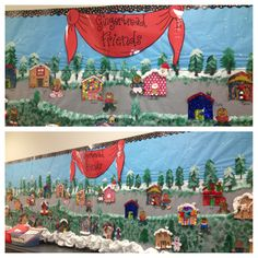 My bulletin board to go along with Jan Brett's Gingerbread Friends book. Each kid made their own house and friend. Wish I would've gotten around to adding speech bubbles like I'd planned!