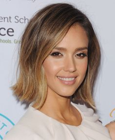 For a flattering look, pair a cute bob like Jessica Alba's with a pretty ombre dye job.