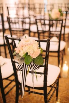 Striped ribbon and hydrangea for chair decor on aisle chairs. What are you feeling like for chair decor, @nikki striefler Cowart? Photography by Jodi Miller Photography / jodimillerphotography.com, Wedding Planning and Design by Strawberry Milk Events / strawberrymilkevents.com, Floral Design by Pat's Floral Design / patsfloraldesign.com