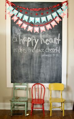 giant chalkboard for Bible verses maybe in the playroom or the homeschool room