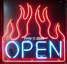 BBQ Neon Open Sign Flaming Square