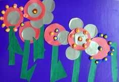 Flowers from paper. Spring art for kids.