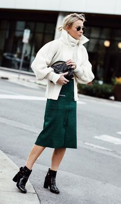 Double Sweaters + Midi Skirt + Patent Boots @Coveteur