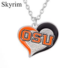 Skyrim New Sporty Oklahoma State University Pistol Pete Logo Heart Charms Silver Plated Necklace Jewelry for Fans