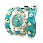 Turquoise Gold CZ Studded Wrap Around Watch