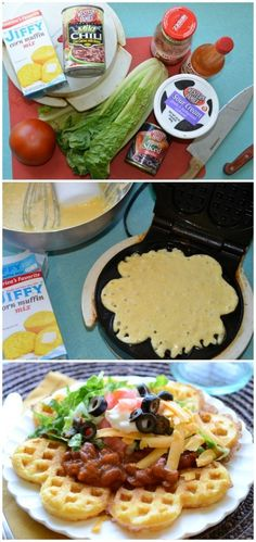 "Cornbread Waffles with Chili 鈥?15 minute dinner - for those ""it's gonna be a late night & we need fast"""