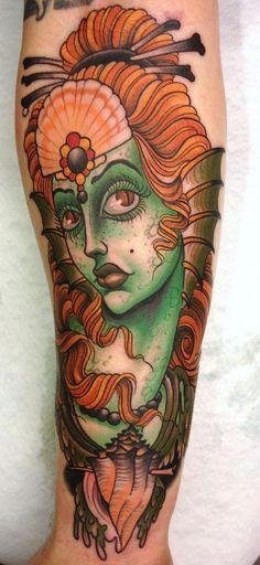 """Some kind of amphibian woman"", done by Peter Lagergren at Malmö Classic Tattooing."