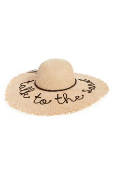 Frayed Edge Floppy Straw Hat - You won't be bothered on the beach while wearing this frayed straw hat embroidered with a punny dismissal.