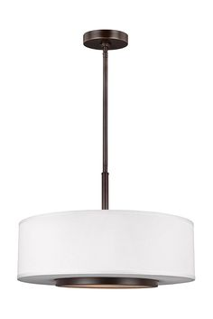 Nance 3- Light Pendant by Sea Gull Lighting: Versatile design which fits in a wide array of traditional or contemporary settings. The tapered, off-white, faux silk shades add warmth and sophistication. The large pendant and semi-flush faux silk drum shades are complemented nicely with Satin Etched Opal glass diffusers to soften the downlight. The Heirloom Bronze finish adds the perfect touch to your hallway, kitchen, or home office.