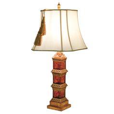 Obelisk Gold & Marble Table Lamp Tassel Shade Hotel lobby style luxury lighting www.serendipityhomeinteriors.com