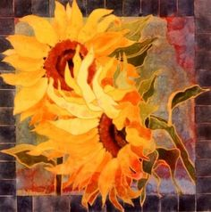 """Sunflowers Squared"" - watercolor by Pat Howard"