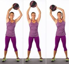Overhead circles with a medicine ball is an excellent way to tone your abs.