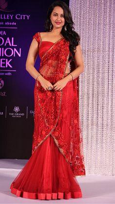 sonakshi sinha in red mermaid style saree drape