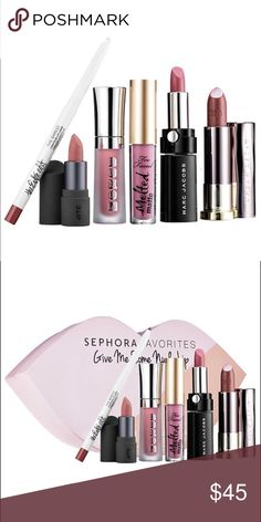 SEPHORA GIVE ME SOME NUDE LIP BRAND NEW - 0.05 oz/ Bite Beauty Amuse Bouche Lipstick in Honeycomb (beige nude)  - 0.07 oz/ Buxom® Full-On Lip Cream in White Russian (nude)  - 0.009 oz/ Estée Edit The Barest Contour lip Liner in 05 In The Buff (satin nude)  - 0.05 oz/ Marc Jacobs Beauty Le Marc Lip Crème in 246 Slow Burn (creamy nude rose)  - 0.08 oz/ Too Faced Melted Matte Liquified Matte Long Wear Lipstick in Queen B (matte soft mauve)  - 0.11 oz/ Urban Decay Vice Lipstick in 1993 Comfort…