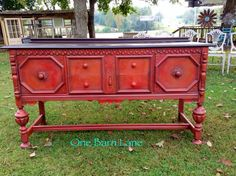 Beautiful Buffet painted in Fall colors using Cece Caldwell's Paint Jersey Tomato and Pueblo Pepper.