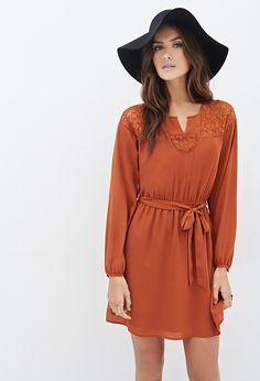 Kleid mit Blumenspitze und Bindegürtel - Love 21   Damen Kleidung   online shoppen   Forever 21 - 2000137379 - Forever 21 EU Deutsch