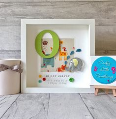Beautiful and unique personalised box frame in a Grey Elephant theme, by Crafty Little Somethings. Personalised box frames that make a lovely gift, keepsake, or to complete your childs nursery/bedroom decor. Frames will be made with: - A hand painted MDF initial in Victoria font -