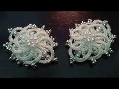 Winter flower earrings (Tatting,Frivolité, Orecchini, Фриволите,Encaje, 梭織) FREE PATTERN - YouTube