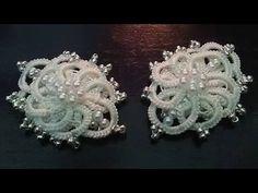 Winter flower earrings (Tatting,Frivolité, Orecchini, Фриволите,Encaje, 梭織) FREE PATTERN - YouTube
