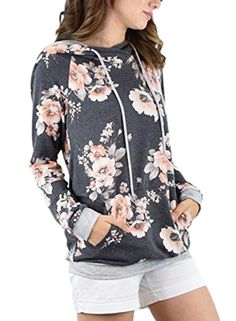 AlvaQ Women's Fall Casual Floral Printed Sport Loose Long Sleeve Hoodie Shirts Hooded Sweatshirts Tops Black | Plus size fashion for women >>> Details can be found by clicking on the image. (This is an affiliate link) #weightlossjourney