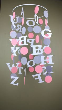 ABC Crib Mobile Pink and Gray Nursery Mobile by TheWhimsyBoutique, $40.00