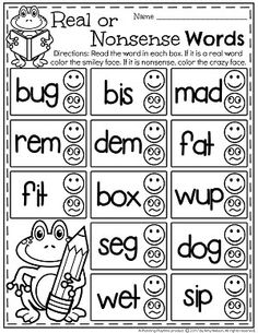 Looking for great reading resources? You students will love these engaging Real or Nonsense Words Worksheets with monkeys, race cars, and other fun themes. Nonsense Words, Cvc Words, Sight Words, Kindergarten Reading, Teaching Reading, Reading Resources, Kindergarten Phonics, Reading Activities, Educational Activities