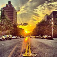 Inwood, located in far northern Manhattan above the George Washington Bridge displays a gorgeous NYC sunrise.